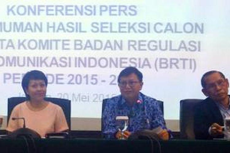 Kementerian Komunikasi dan Informatika mengumumkan hasil seleksi calon anggota Badan Regulasi Telekomunikasi Indonesia (BRTI) periode 2015-2018 dari unsur masyarakat.