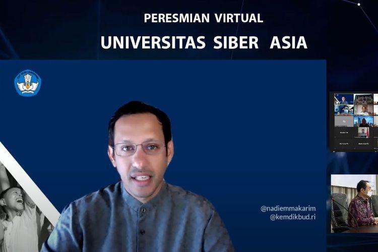 Mendikbud Nadiem Makarim dalam peresemian virtual Universitas Siber Indonesia