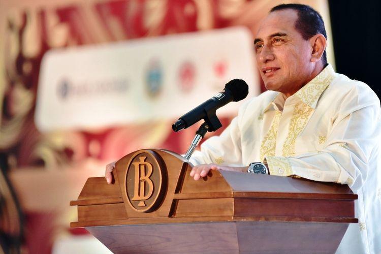 Gubernur Sumut Edy Rahmayadi mengapresiasi pameran KKSU 2020 yang digelar Bank Indonesia dan berterima kasih kepada Kepala Perwakilan BI Sumut Wiwiek Sisto Widayat yang menurutnya telah menghidupkan UMKM di masa sulit, Jumat (28/8/2020)