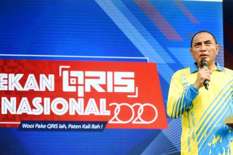 Gubernur Sumut Edy Rahmayadi menghadiri Pekan QRIS Nasional 2020 yang diselenggarakan BI Perwakilan Sumut di Lapangan Benteng Medan, Minggu (15/3/2020)