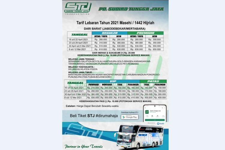 Tarif tiket lebaran Sudiro Tungga Jaya