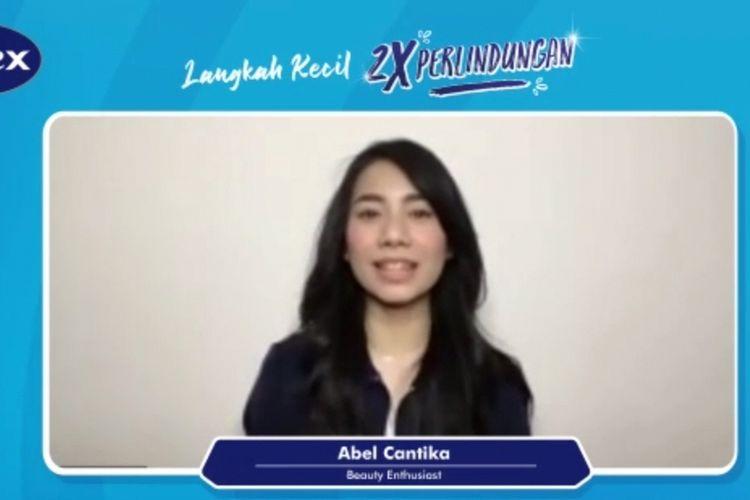 Beauty influencer Abel Cantika dalam peluncuran virtual Carex Hand Spray, Selasa (27/4/2021).