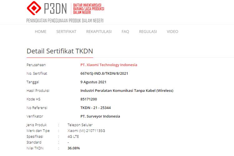 Tangkapan layar laman sertifikasi TKDN Kemenperin yang menerbitkan sertifikat perangkat seluler dengan kode (MI) 2107113SG yang diperkirakan sebagai kode Mi 11T.