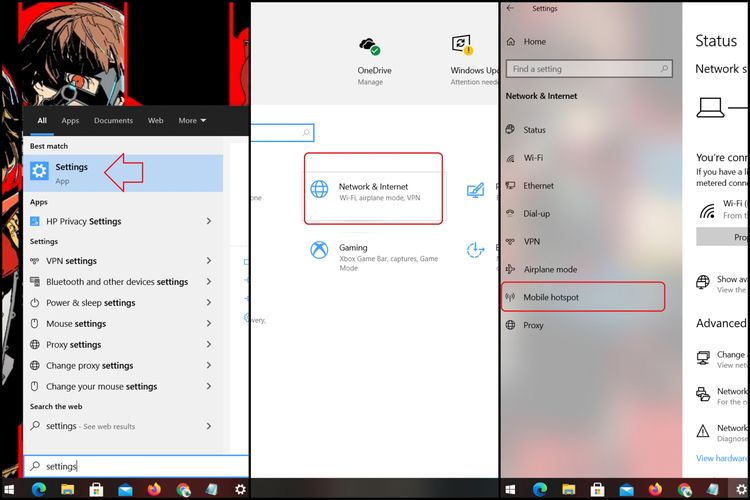 Cara mengakses menu Mobile Hotspot di menu pengaturan.