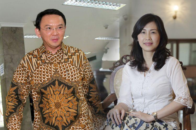Kolase foto Basuki Tjahaja Purnama dan Veronica Tan.