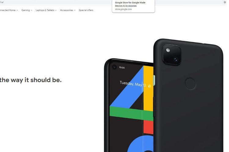 Gambar bocoran Pixel 4a yang muncul di toko online Google Kanada.