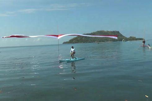 HUT RI, Bendera Merah Putih 74 Meter Dibentangkan Nelayan di Atas Laut