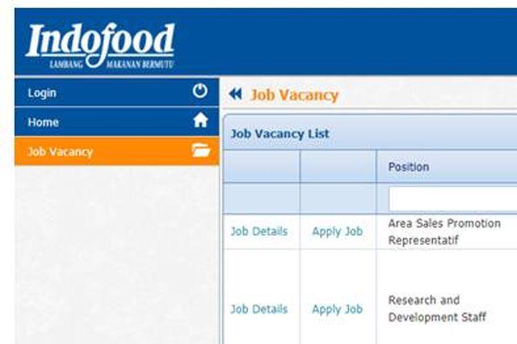 Tangkapan layar laman rekrutmen di Indofood.