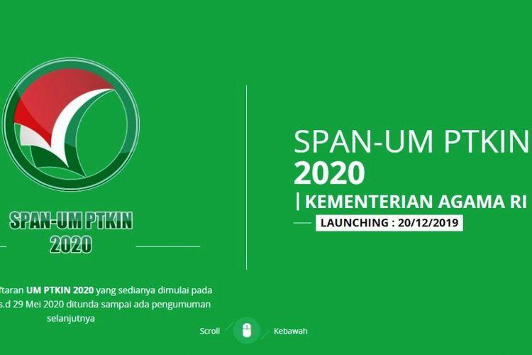 Tangkapan layar informasi SPAN-UM PTKIN 2020.