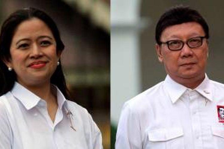 Puan Maharani dan Tjahjo Kumolo saat diperkenalkan sebagai Menteri Koordinator Pembangunan Manusia dan Kebudayaan serta Menteri Dalam Negeri.