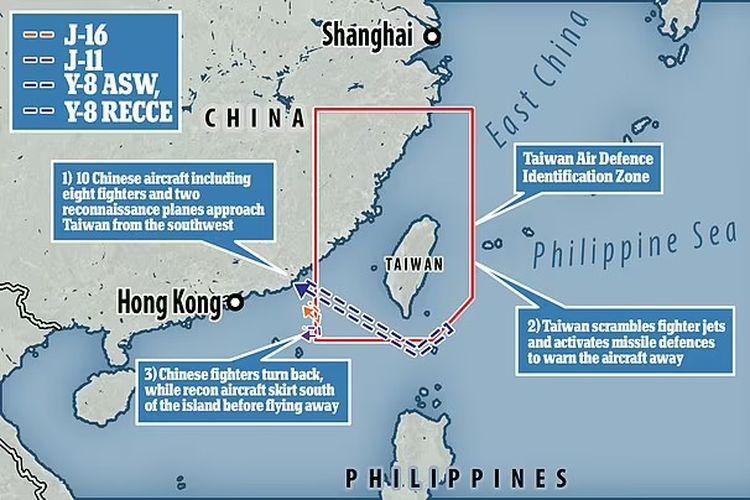 Peta kawasan Taiwan. [Via Daily Mail]
