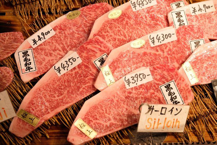Ilustrasi wagyu untuk steak di Jepang.