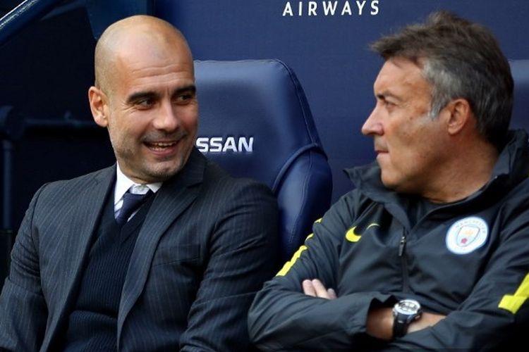 Pep Guardiola dan Domenec Torrent Font kala masih bekerja sama di Manchester City.