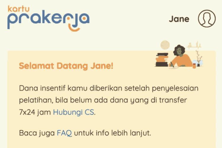 Tampilan layar peserta yang lolos dalam pendaftaran Kartu Prakerja Gelombang 13.