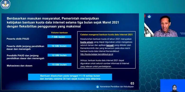 Mendikbud Nadiem Makarim memaparkan rincian bantuan kuota data internet 2021, Senin (1/3/2021).