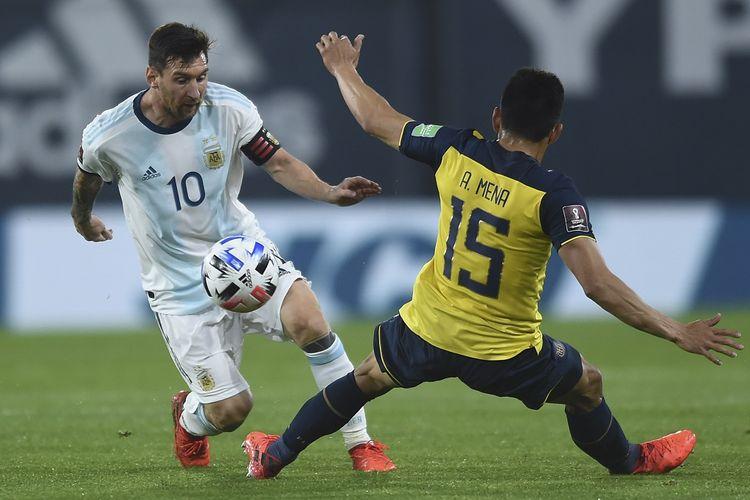 Bintang tim nasional Argentina, Lionel Messi, beraksi dalam laga Kualifikasi Piala Dunia 2022 zona Amerika Selatan kontra Ekuador, Jumat (9/10/2020) pagi WIB.
