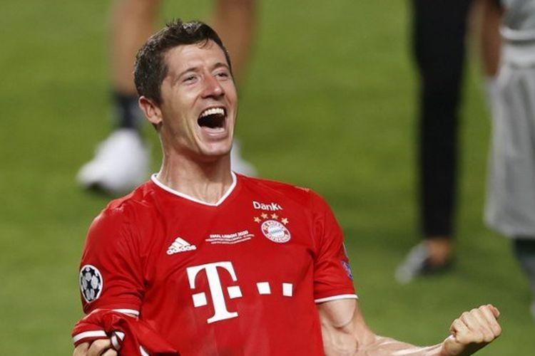 Tampilan jersei Bayern Muenchen yang dikenakan Robert Lewandowski pada final Liga Champions 2019-2020.