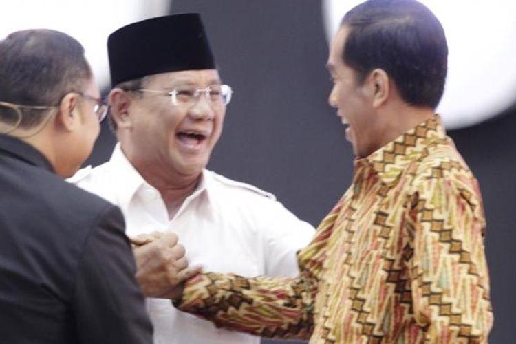 Jokowi dan Prabowo bertemu di Kertanegara 4, Jakarta, Jumat (17/10/2014).