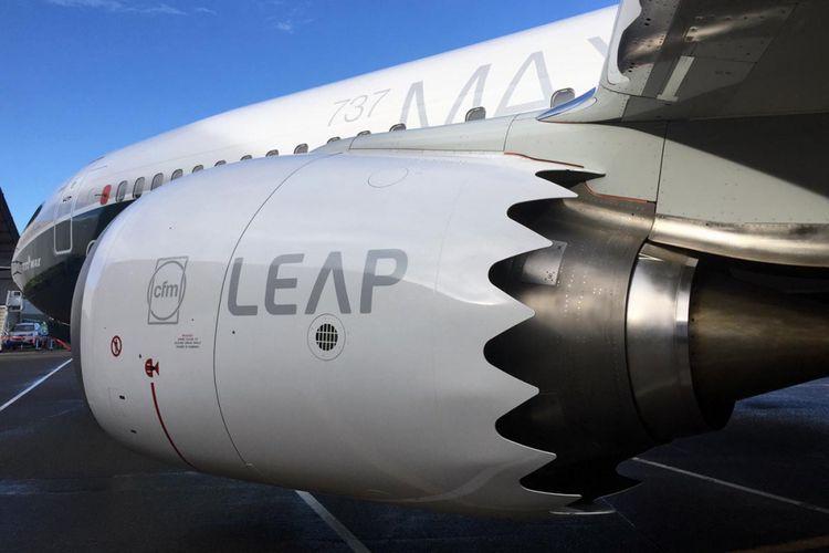 Ujung mesin CFM LEAP-1B di pesawat B737 MAX didesain bergerigi untuk mengurangi suara bising yang keluar dari mesin pesawat.