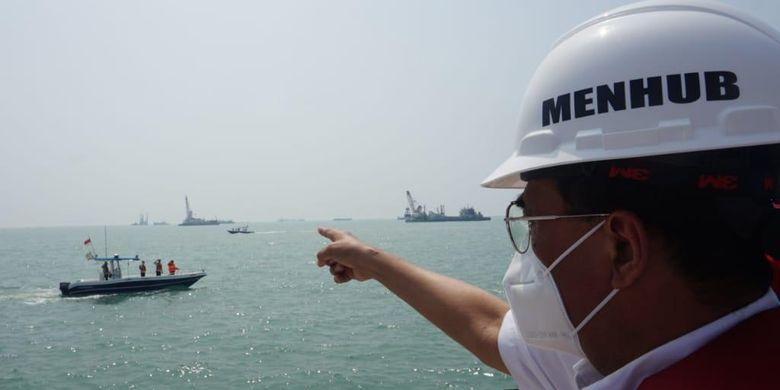 Transportation Minister Budi Karya Sumadi during his previous visit to Patimban Seaport in Subang regency in West Java on August 9, 2020.