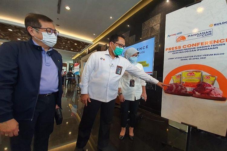 Bulog luncurkan iPangananDotCom di Lobi Gedung Utama Perum Bulog, Jakarta, Senin (26/4/2021).