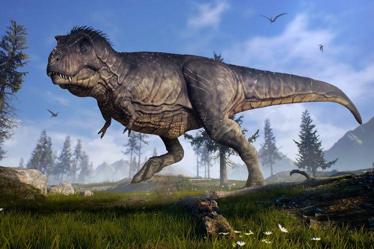 Ilustrasi penemuan tulang dinosaurus di tepi pantai di Inggris yang diketahui ahli paleontologi sebagai spesies theropoda, sepupu Tyrannosaurus rex (T.rex).