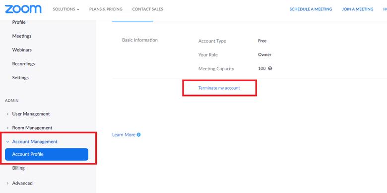 Cara menghapus akun Zoom, pilih Account Profil yang ditandai dengan kotak merah, kemudian klik Terminate my account di sebelah kanan yang juga ditandai dengan kotak merah, lanjutkan dengan memilih yes untuk menghapus akun.