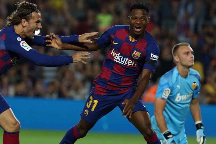 Pemain Barcelona, Ansu Fati mencetak gol cepat di laga Barcelona vs Valencia.
