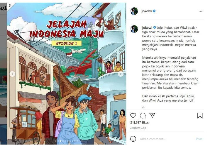 Presiden Joko Widodo memperkenalkan komik berjudul Jelajah Indonesia Maju melalui unggahan di akun instagram resminya @jokowi.