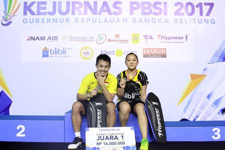 Gelar juara ganda campuran Kejuaraan Nasional (Kejurnas) PBSI 2017 Gubernur Kepulauan Bangka Belitung akhirnya berhasil diraih oleh Akbar Bintang Cahyono/Winny Oktavina Kandow.