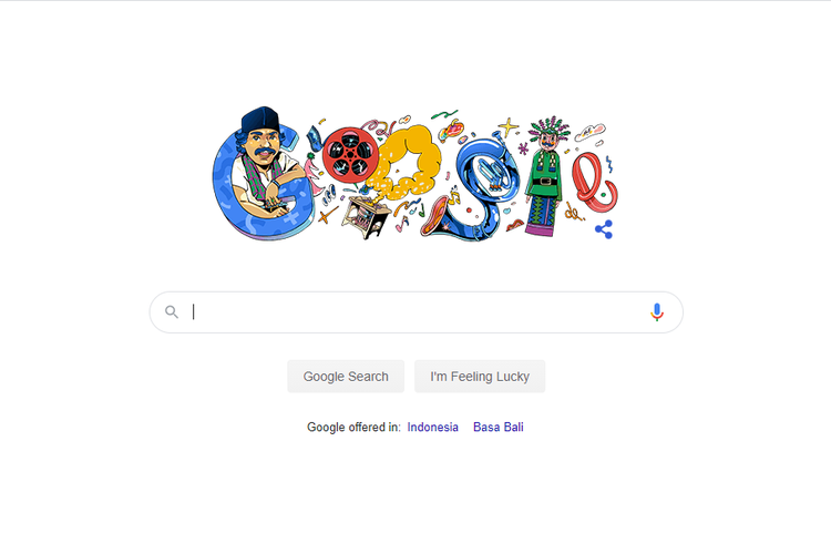 Tangkapan layar Google Search Engine yang menampilkan doodle bertema Benyamin Sueb