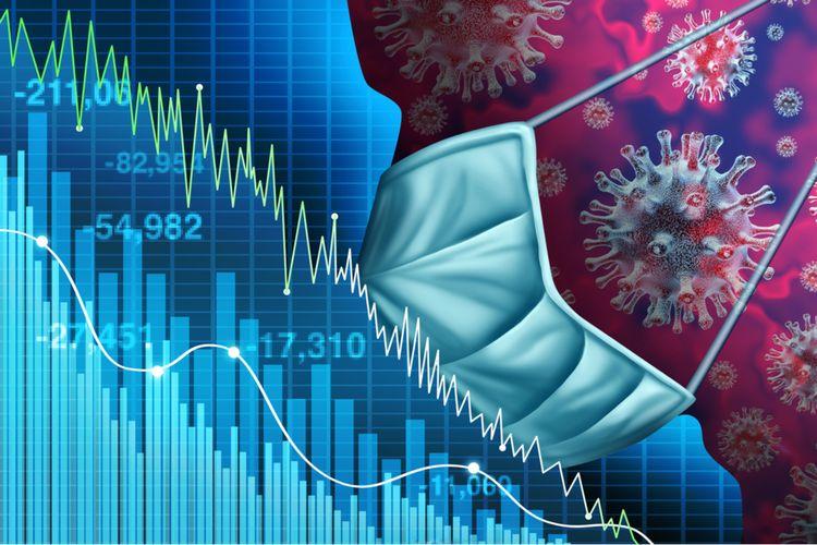 Ilustrasi resesi ekonomi akibat pandemi virus corona.