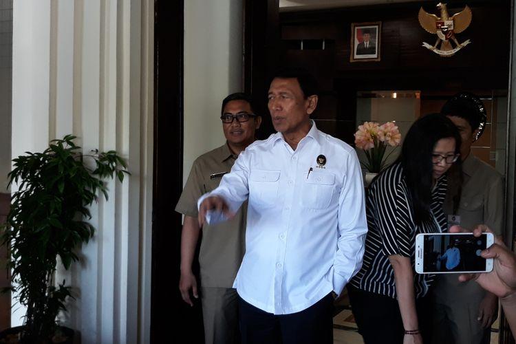 Menko Polhukam Wiranto di Kantor Kemenko Polhukam Jakarta, Selasa (27/2/2018).