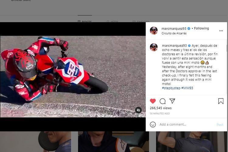 Marc Marquez mulai latihan memakai motor