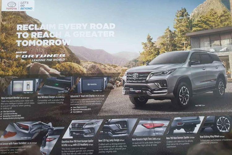 Brosur Toyota Fortuner yang tersebar di media sosial