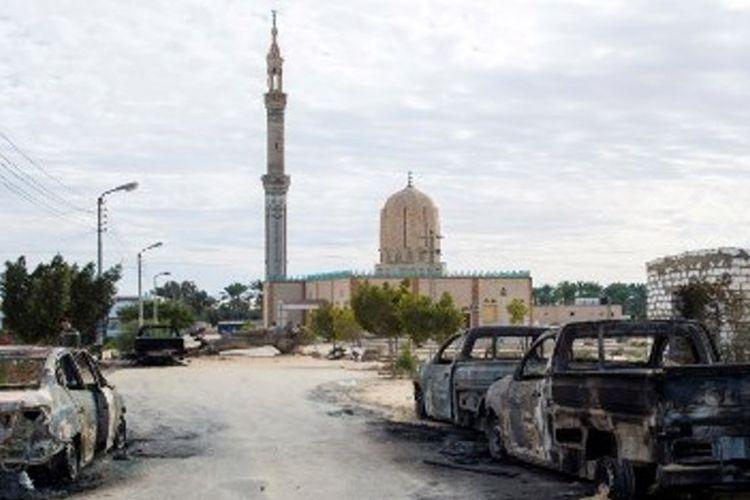 Bangunan Masjid Rawda yang menjadi sasaran penyerangan teroris pada Jumat (24/11/2017) dan menewaskan 305 orang.