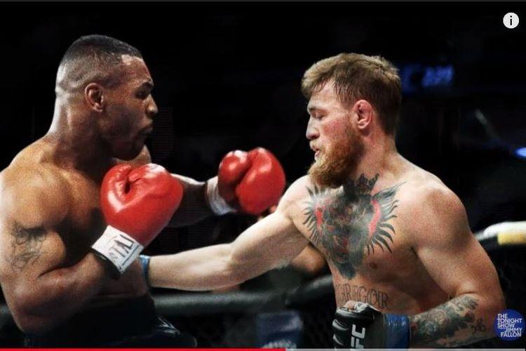 Montase foto Mike Tyson bertarung dengan jagoan UFC, Conor McGregor di The Tonight Show Starring Jimmy Fallon.