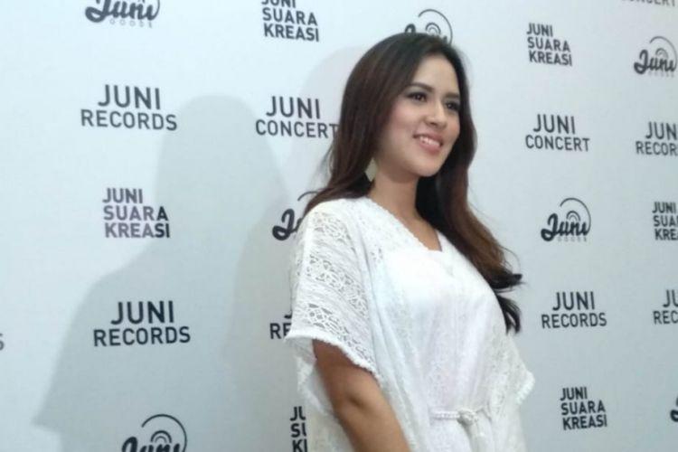 Raisa dalam konferensi pers singel terbarunya, Lagu Untukmu, di Rumah Maroko, Menteng, Jakarta Pusat, Kamis (34/5/2018).