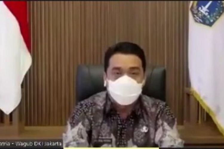 Wakil Gubernur DKI Jakarta Ahmad Riza Patria dalam acara webinar Balkoters Talk, Kamis (25/3/2021)