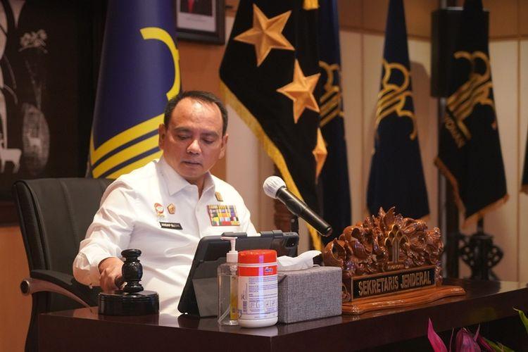 Sekretaris Jenderal Kemenkumham Andap Budhi Revianto dalam acara pelatihan dasar bagi Calon Pegawai Negeri Sipil (CPNS) di lingkungan Kemenkumham, Rabu (21/4/2021)