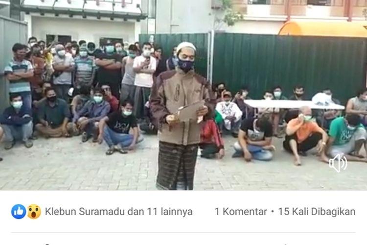 Screenshot Video yang Viral di Platform Media Sosial Terkait Tuntutan Dari Warga Karantina BPWS Bangkalan.