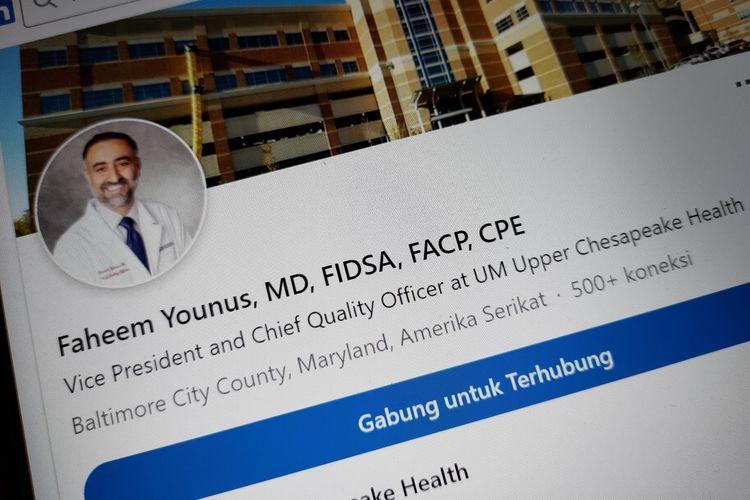 Ilustrasi laman LinkedIn dokter Faheem Younus.