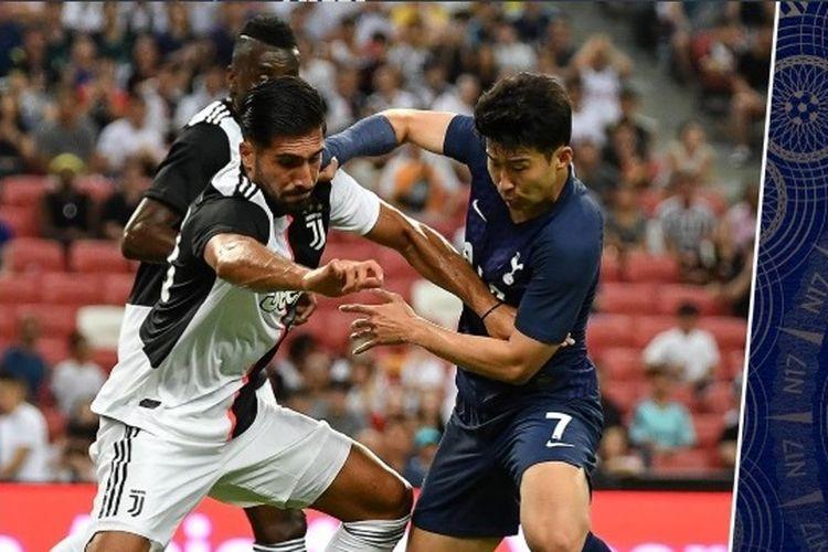 Pemain Totteham Hotspurs, Son Heung Min dan gelandang Juventus, Emre Can di Stadion Nasional Singapura, Minggu (21/7/2019) pada ajang ICC 2019.