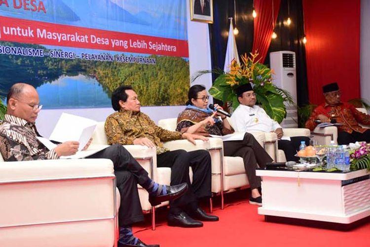 Menteri Keuangan RI, Sri Mulyani Indrawati dalam acara Desiminasi Dana Desa di Aula Kantor Walikota Tidore, Maluku Utara, Kamis (8/3/2018)