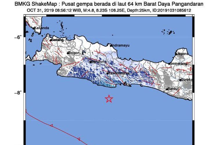 Gempa Pangandaran M 4,8, terjadi pada Kamis (31/10/2019) pukul 8.56 WIB. Tidak berpotensi tsunami.