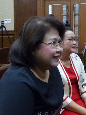 Elza Syarief dan Miryam S Haryani di Pengadilan Tipikor Jakarta, Senin (21/8/2017).