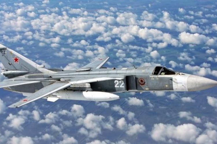 Salah satu jet Sukhoi Su-24 milik AU Rusia.
