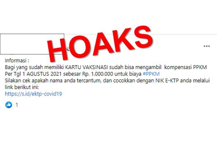 Hoaks, bantuan Rp 1 juta dari pemerintah bagi warga yang sudah memiliki kartu vaksin selama PPKM.