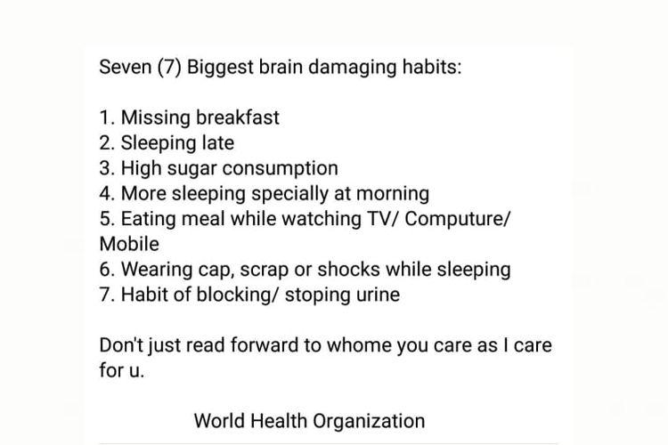 Status Facebook soal 7 kebiasaan yang bisa merusak otak, diklaim berasal dari WHO.