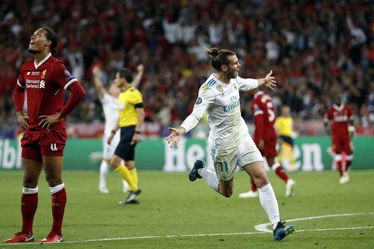 Pemain Real Madrid Gareth Bale melakukan selebrasi usai mencetak gol ke gawang Liverpool saat laga final Liga Champions 2018 di Stadion NSK Olimpiyskiy di Kiev, Ukraina, Sabtu (26/5/2018) waktu setempat. Real Madrid meraih gelar juara Liga Champions 2018 seusai menang 3-1 atas Liverpool.